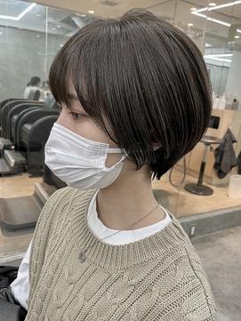 大人かわいい小顔ひし形ショートボブグレージュ10代20代30代徳竹