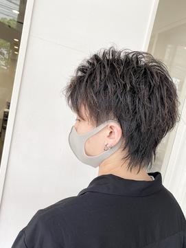 ハーフアップバング暗髪束感ツーブロックウルフ【BLAZE 大庭】