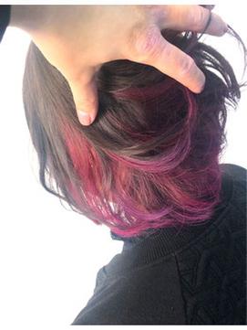 強めアクセントが可愛い☆インナーカラー×ピンクバイオレット☆