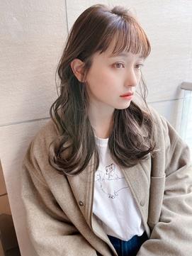 韓国風前髪薄め短めバング#イメチェンラベンダーカラー