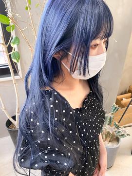 ネイビー  青髪 ブルーカラー 姫カット ブルーグレー