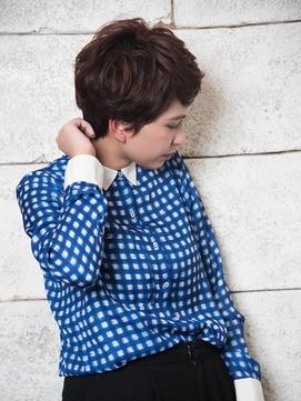 Liru&WISH吉祥寺エッジショート ツヤ髪ネイビーカラーニュアンス