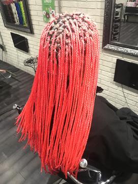 マイクロ原色ピンクネオンカラーブレイズエクステ100本