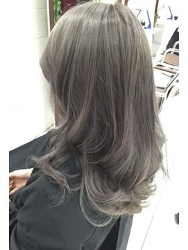 外人風透け感艶カラー☆オリーブアッシュブリーチデザインカラー