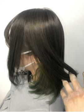 アッシュや黒髪の方に試して欲しい☆インナーカラー×グリーン☆