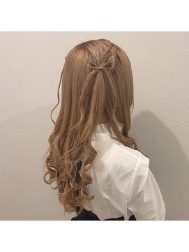 髪リボンハーフツイン