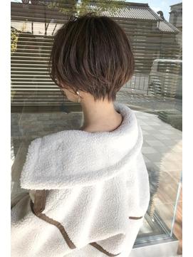 ショートパーマ黒髪ハイライトカラー30代40代奈良大和八木
