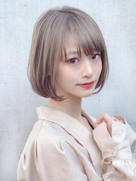 【東 純平】大人可愛い小顔ゆるふわボブ+ホワイトグレージュ