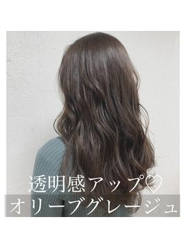 オリーブカラー/愛され/外ハネボブ/アッシュブラウン/ネオウルフ