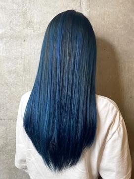 ブルーブラック/ハイライト/艶髪/暗髪/ストレート
