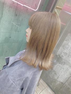 暖色系カラー☆外ハネボブ☆ペールカラー☆ミルクティーブラウン