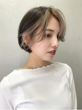 前髪カラー/フロントカラー/バングカラー/ミルクティーベージュ