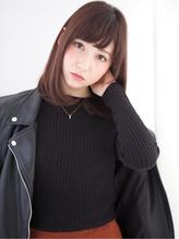 春髪チョコレートブラウンカラー毛先ワンカール内巻きボブ ピュア.17