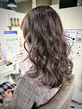 髪質改善 レッド系 ボルドー系 ミディアムロング