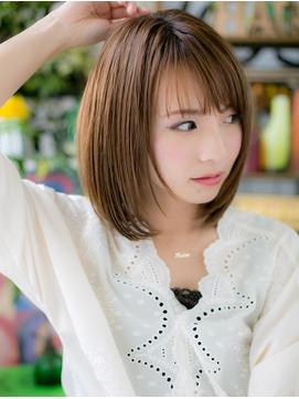 ★透け感斜めバング♪艶カラーストレートボブディ20代30代★5!