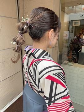 【ZENKO吉祥寺Chere】卒業式・成人式 袴振袖 革紐水引きかすみ草