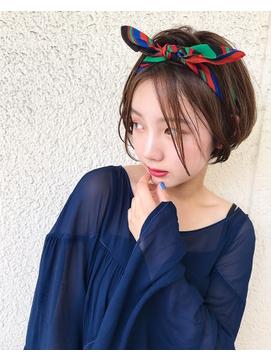 【ABTO】前髪長めのショートボブ × スカーフアレンジ