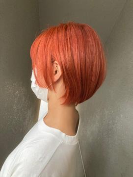 オレンジカラー/小顔ショート/くびれショート/10代・20代