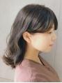 【invitation】一度のカラーで柔らかい透け感ブルーアッシュ