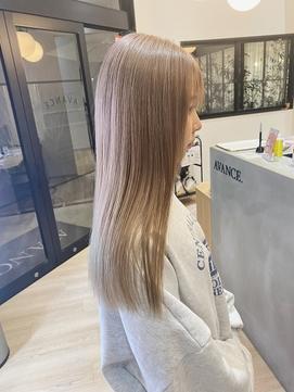 ダブルカラー×ベージュ×髪質改善×ミルクティーカラー