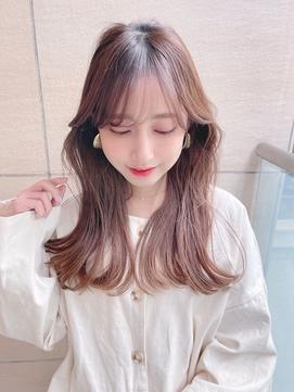 韓国風前髪長めバング#イメチェンラベンダーカラーイヤリング