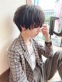 20代30代/暗髪マッシュショート