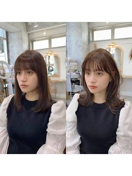 くびれミディ【前髪 薄めバング イメチェン イヤリングカラー】