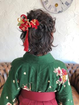 卒業式★袴着付け、ショートハーフアップ編み込みヘアセット