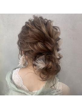 ドレスヘア おだんごシニヨン 結婚式 崩れない ゆるふわ