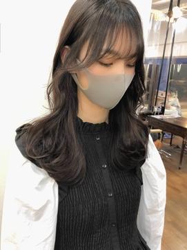 Theo /シースルーバング/ 巻き髪風パーマ/セミロング