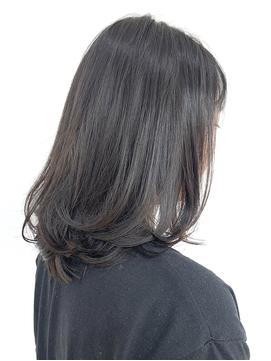 ワンカールボブ/黒髪/ミディアム/20代/30代/ダークカラー/ロブ