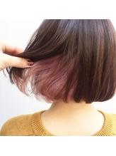 おしゃれヘア☆インナーカラーでボブに可愛らしさを ワンレングス.3