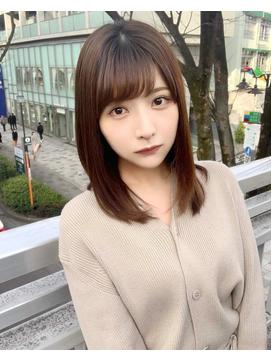 【丸山Style】小顔で清楚なセミロングヘア×モカブラウン