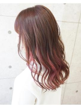 ピンクブラウン×インナーカラーピンク