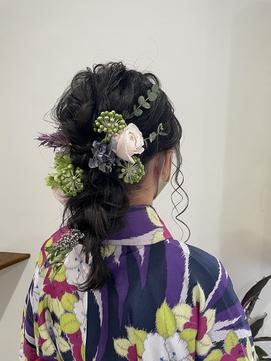 【ayari】卒業式ヘアセット ラプンツェル風編みおろし