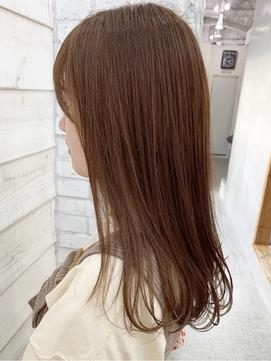 オレンジ ブリーチなしダブルカラー 髪質改善