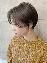 春にオススメ前髪なし◎丸みショート×イルミナグレージュ.39