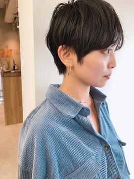 黒髪大人ショート_ミニマムボブ3Dカラージグザグバング