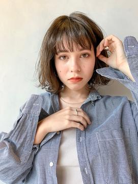 【Unami】クセ毛風ボブパーマ シースルーバング 岸直美