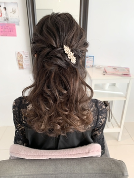 ドレスヘア 二次会ハーフアップ パーティー ブライダル結婚式