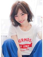 《Agu hair》20代30代小顔ふんわりくびれ無造作ひし形ミディ.51