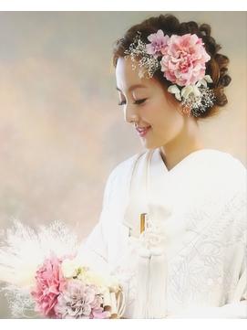 【和装】白無垢★シャビーなお花のヘアアレンジ1