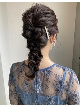 編みおろし お呼ばれヘア 結婚式ヘアセット
