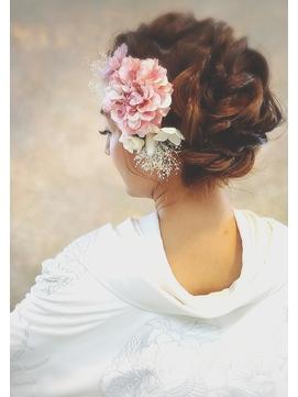【和装】白無垢★シャビーなお花のヘアアレンジ2