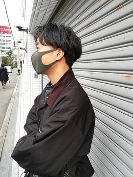 黒髮ショート_小顔,オリーブカラー,ハイライトカラー