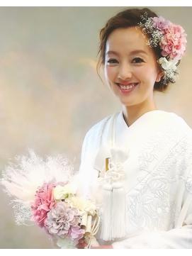 【和装】白無垢★シャビーなお花のヘアアレンジ3
