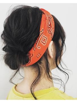 【バンダナ】【ターバン】【ヘアアレンジ】【お団子ヘア】