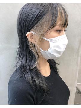*SUNウルフカットジェニ風前髪インナーカラーベージュ菅原誠