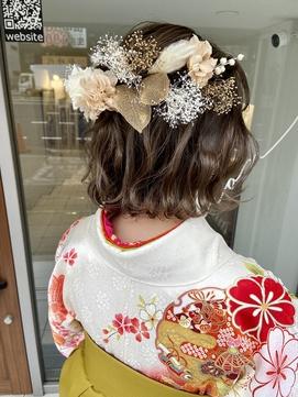 卒業式・成人式・結婚式・ハーフアップアレンジ・立ち上げ前髪