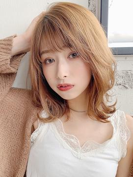 ★ くびれミディ 薄めバング 前髪 イメチェン デジタルパーマ